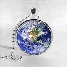 PLANET EARTH NECKLACE Round Glass Bezel Pendant by PixieWhimsy