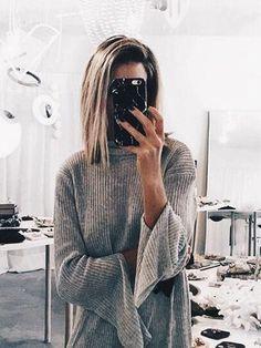 grey bell sleeve sweater
