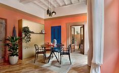 Studio Venturoni interior design project in Rome   Wallpaper* Rome Apartment, Apartment Renovation, Apartment Interior, Contemporary Interior Design, Modern Design, Blue Headboard, Masonry Wall, Trevi Fountain, Wooden Ceilings