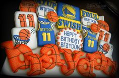 Warriors basketball birthday cookies
