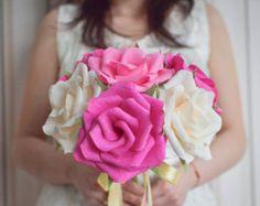 Wedding Bouquet/ Bridal Bouquet/ Bridesmaid Bouquet/ Paper Flower Bouquet/ Alternative Bouquet/ Paper Roses/ Pink Ivory Roses