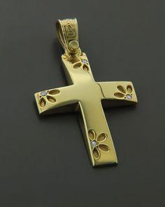 Σταυρός ''Τριάντος'' από κίτρινο χρυσό Κ14 με Ζιργκόν | eleftheriouonline.gr Christian Symbols, Cross Jewelry, Jewelry Design, Crosses, Letters, Christianity, Jewellery, Pendant, Rings