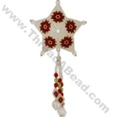 Poinsettia Shooting Star Christmas Ornament Bead Pattern By ThreadABead