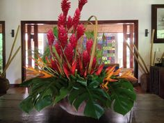 Beautiful floral arrangement in the hotel reception