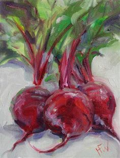 """Daily Paintworks - """"Red Beets"""" - Original Fine Art for Sale - © H. Vegetable Drawing, Vegetable Painting, Fruit Painting, Ceramic Painting, Watercolor Projects, Watercolor Paintings, Veggie Art, Colorful Paintings, Small Paintings"""