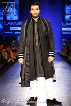 #KaranJohar in black sherwani by Manish Malhotra