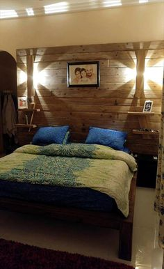 DIY Pallet Bed with Wall Headboard + Lamps & Shelf   101 Pallet Ideas