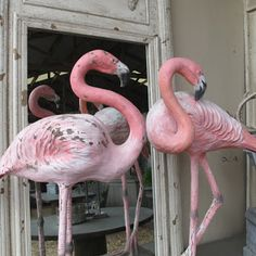 pink...chippy...old stone flamingos...love...
