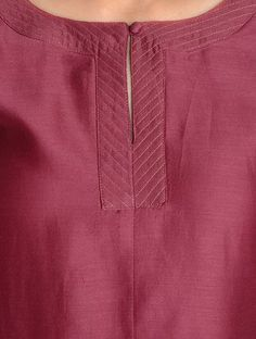 Buy Maroon Zari Stitch Detailed Chanderi Kurta by Jaypore Online Salwar Neck Patterns, Churidar Neck Designs, Salwar Pattern, Kurta Neck Design, Kurta Designs Women, Salwar Designs, Kurti Designs Party Wear, Neck Designs For Suits, Sleeves Designs For Dresses