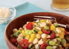 Hominy Salad with Basil-Shallot Vinaigrette