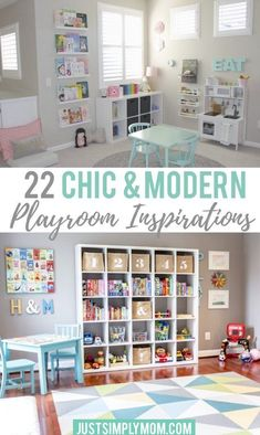 Designing a chic and modern playroom to go along with the decor of your home doesn't have to be a challenge. Use these chic playroom ideas for inspiration. Playroom Organization, Playroom Ideas, Playroom Design, Playroom Furniture, Ikea Playroom, Small Playroom, Montessori Playroom, Organization Ideas, Storage Ideas