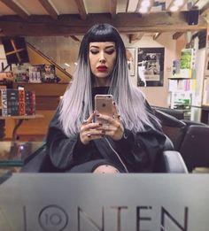 WEBSTA @ misslianneburgess - Sooo happy to have my hair back thanks to @salonten10  #hair #hairextensions #greatlengths #greyhair #ombre #balayage #love #longhair #selfie #mirror #mirrorselfie #salon #makeup #bangs #bettiebangs #gay #lesbian #lipstick #lipsticklesbian #redlips #alternative #alternativegirl #girlswholikegirls #girlswithtattoos #witchy #allblackeverything #style #instastyle #instagood #instadaily