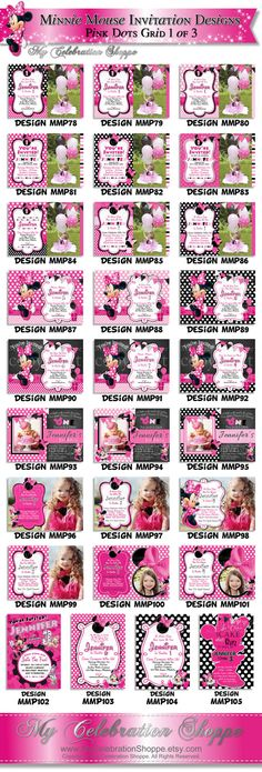 HUGE SELECTION Pink Minnie Mouse Birthday Invitation, Photo Invitation,  My Celebration Shoppe, Large Minnie Mouse, Diy Printable Invitation on Etsy, $7.50