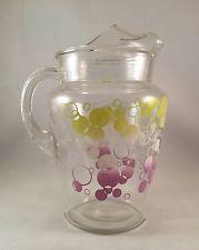 Vintage Purple, White, Yellow Bubbles Glass Pitcher Circle Dot W/ice Lip Retro