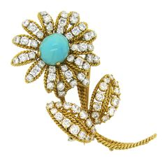 Vourakis Athens Diamond Turquoise Gold Flower Brooch   From a unique collection of vintage brooches at https://www.1stdibs.com/jewelry/brooches/brooches/