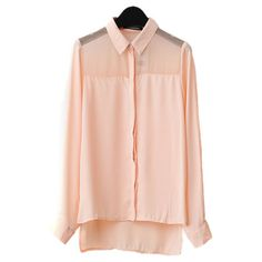 Pink Chiffon Blouse with Semi-sheer Shoulders and Dip Hem ($35) ❤ liked on Polyvore