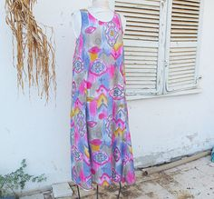 Cotton Batiste   Large Patterned Maxi Dress  by resplendentrags