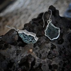 Broken Car Window Glass Upcycled Dangling Earrings - what a great idea and so pretty!