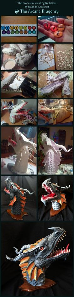 Epic original fantasy art. Unique custom hand made ethical dragon trophy head sculpture, wall mounted, home decoration. Faux taxidermy made with paper mache, cloth / fabric mache, fimo (polymer and air-dry clay), horns, newspaper, cardboard, oak shield, acrylic paint, cotton sheets. Visit The Arcane Dragonry online for free tutorials! crafts, etsy, fauxidermy, home deco, Dan Reeder, Skyrim, Dungeons & Dragons, roleplay, RPG, Tolkien, Game of Thrones, Targaryen, World of Warcraft, power metal