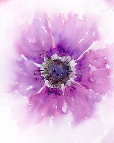 Purple Watercolor Flower 8x10 Art Print
