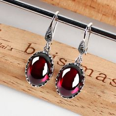 Round Garnet with Triple Dot Accents 925 Sterling Silver Dangle Earrings