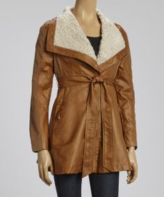 Camel & White Faux Shearling Jacket | Daily deals for moms, babies and kids