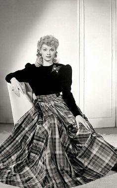 Lucille Ball in Tartan Gown ~ 1940