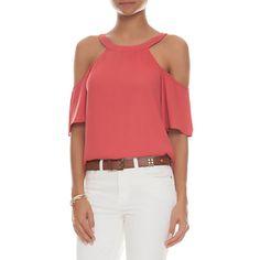 ATEEN - Blusa recortes ombros - coral - OQVestir