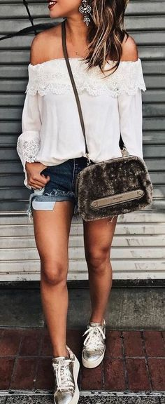 #summer #outfits / off the shoulder crochet top