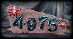 4975 Address Rock/ Mosaic House Number by Chris Emmert Mosaic Rocks, Rock Mosaic, Mosaic Diy, Mosaic Crafts, Mosaic Projects, Stone Mosaic, Stone Tiles, Mosaic Glass, Glass Art