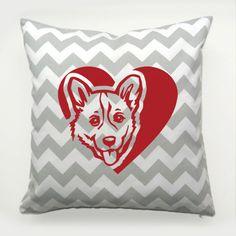 Decorative Pillow Welsh Corgi Cardigan Dog Heart by PSIAKREW on Etsy