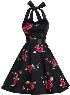 Amazon.com: DRESSTELLS Vintage 1950s Rockabilly Polka Dots Audrey Dress Retro Cocktail Dress Blue Flower S: Clothing Vintage Tea Dress, Vintage Style Dresses, Retro Dress, 50s Vintage, Pretty Dresses, Beautiful Dresses, Lila Outfits, Floral Embroidery Dress, Midi Cocktail Dress