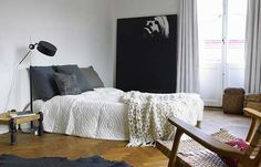 Copying this bed. King coverlet, white sheets, box spring cover, varying gray large pillows