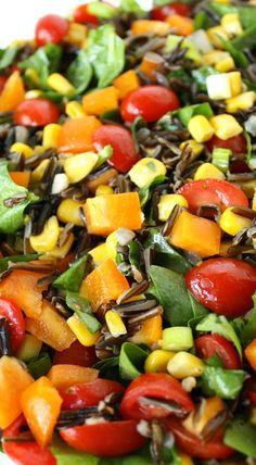 Wild Rice Spinach Salad with Lemon-Garlic Dressing