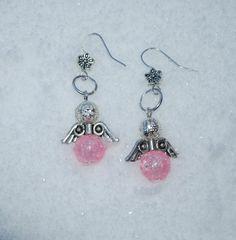 Angel earrings, pink glass beads, pink angel jewelry