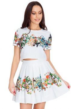 Biele kvetinové šaty Etoile Ema, Stretches, Floral Prints, Two Piece Skirt Set, Mini, Skirts, Dresses, Fashion, Floral Patterns