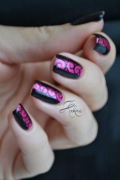 Black & Pink Nails.