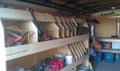 Job Site Trailers, Show Off Your Set Ups! - Page 23 - Tools & Equipment - Contractor Talk Trailer Shelving, Van Shelving, Trailer Storage, Truck Storage, Work Trailer, Trailer Plans, Trailer Build, Wood Storage Rack, Van Storage