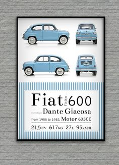 Fiat 600's poster design by Marcos de Paola