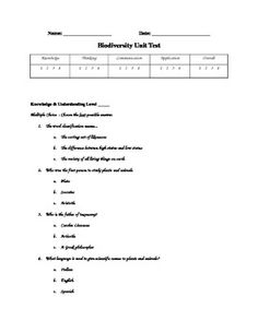 This test corresponds to Ontario Grade 6 Science curriculum for the