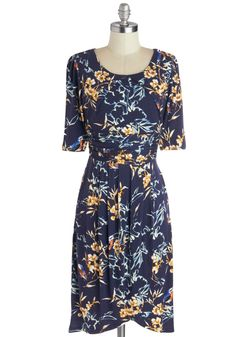While You Were Tweeting Dress. Time spent in this naturalistic navy dress is always worthwhile. #blue #modcloth
