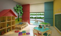 Brinquedoteca Indoor Playroom, Toddler Playroom, Kids Salon, Diy Classroom Decorations, Daycare Rooms, Dream Kids, Animal Room, Happy House, Toy Rooms