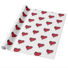 bold brush red heart wrapping paper - wrapping paper custom diy cyo personalize unique present gift idea