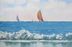 """Spinnakers Flying - 7.5x11"""" original watercolor painting by Jim Oberst - $100 incl. U.S. shipping."""