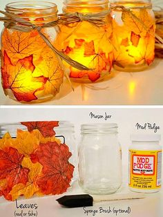 DIY Fall Decorating Ideas for the Home – Fall Leaf Mason Jar Candle Holder Mason Jar Crafts, Mason Jar Diy, Fall Mason Jars, Thanksgiving Crafts, Holiday Crafts, Thanksgiving Table, Diy Autumn Crafts, Autumn Crafts For Adults, Fall Leaves Crafts