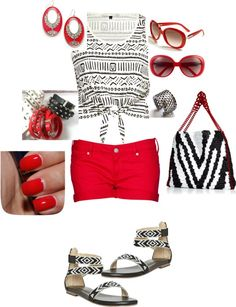 Can't go wrong with Black, White, & RED!, created by trin-cb on Polyvore