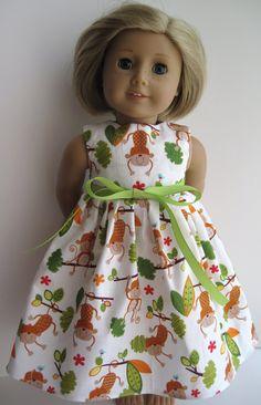 Swinging Monkeys Sleeveless Dress for Your American Girl Doll. $6.99, via Etsy.
