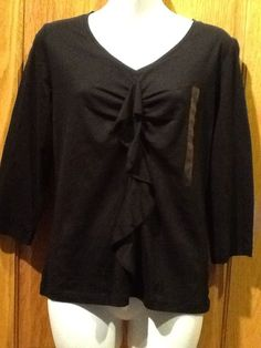 JONES NEW YORK sport Petite PM Black Top Blouse Shirt Elegant Ruffle New NWT #JonesNewYorkSport #Blouse