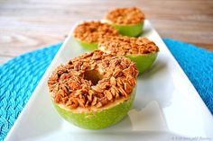 Peanut Butter Granola Apple Rings.  I'm imagining some PB2 and a sprinkle of Special K on top?  [Cut in rings with a mandolin.]  Yum!