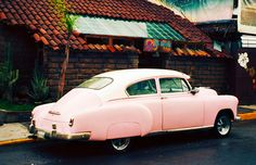 Vintage Car Photograph - Signed Fine Art Print - Mexico, American Beauty in Cholula via Etsy